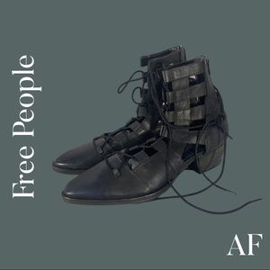 FREE PEOPLE GLADIATOR LEATHER ANKLE BOOTS BLACK NEW